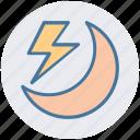 forecast, lightning, moon, storm, thunder, weather icon