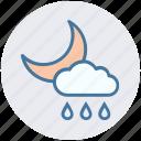 cloud, moon, night, rain, rainy, weather icon