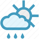 day, forecast, rain, rainy, sun, weather icon