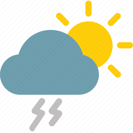 Cloud, thunder, sunny, color, thunderstorm, sun, weather icon - Download on Iconfinder