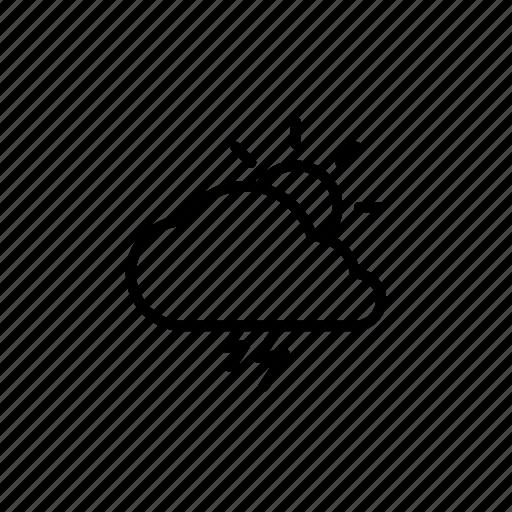 cloudy, forecast, lightning, rain, sun, thunderstorm, weather icon