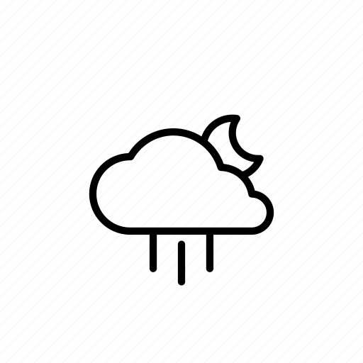 cloudy, forecast, moon, night, rain, weather icon