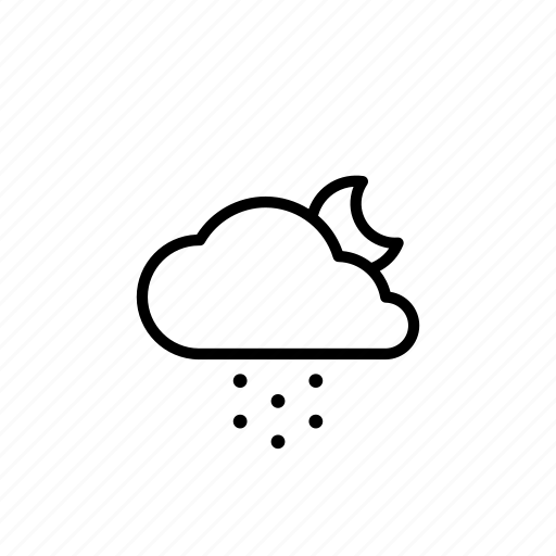 cloud, cloudy, forecast, moon, night, snow, weather icon