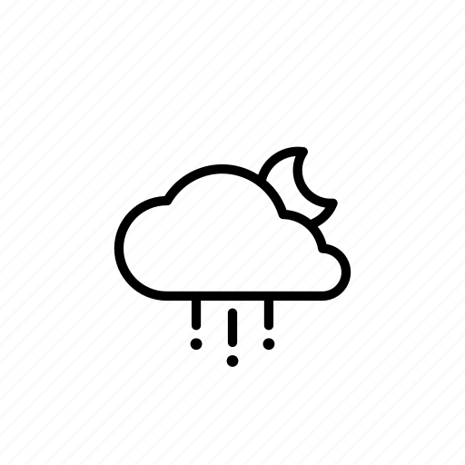 cloud, forecast, hail, moon, night, weather icon