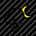 cold, drizzle, heat, night icon