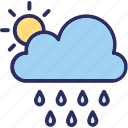 clouds, rain, raining, sun icon