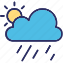 clouds, raining, sun, sunny raining icon