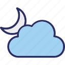 cloudy night, moon, night, sky icon