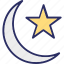crescent, moon, moon star, nature icon