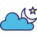 cloud, crescent, moon, moon star icon