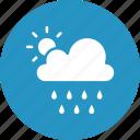 clouds, rain, raining, sun icon