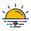 climate, forecast, meteorology, sunset, weather icon