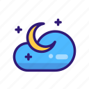 cloud, forecast, moon, night, star, weather, weather icon