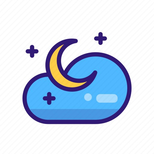 cloud, forecast, moon, night, star, weather, weather icon icon