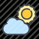 cloud, cloudy, sun, sunny, weather icon