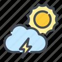 cloud, cloudy, lightning, sun, thunder, weather icon