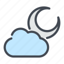 cloud, cloudy, moon, weather