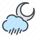 cloud, moon, rain, rainy, weather icon