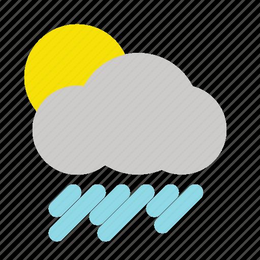 bright, cloudy, rain, rainfall, sun, weather icon