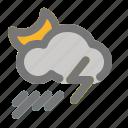 cloud, cloudy, moon, rain, rainfall, thunder, weather icon