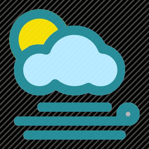 cloud, sun, weather, wind, wind direction icon