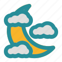 cloud, cloudy, moon, weather, wind icon