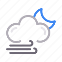 climate, cloud, moon, weather, wind icon