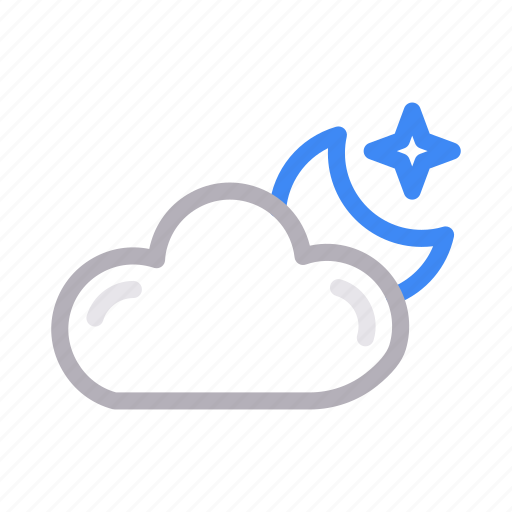 climate, cloud, moon, star, weather icon