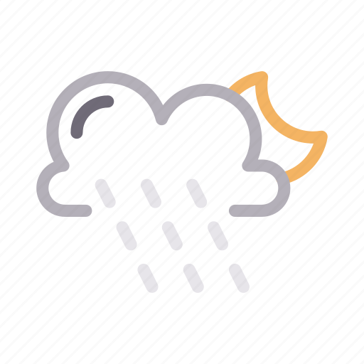 cloud, moon, night, rain, weather icon
