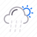 climate, clouds, rain, sun, weather icon