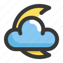 climate, cloud, forecast, moon, night, weather icon