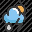 climate, cloud, forecast, rain, sun, thunder, weather icon