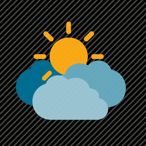 cloud, cloudy, sun, weather icon
