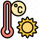 celsius, sun, temperature, thermometer, weather icon