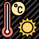celsius, sun, temperature, thermometer, weather icon