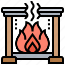 cozy, fireplace, flame, warm, winter icon