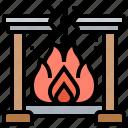 cozy, fireplace, flame, warm, winter icon