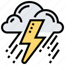 cloud, lightening, rain, thunderstorm, weather icon