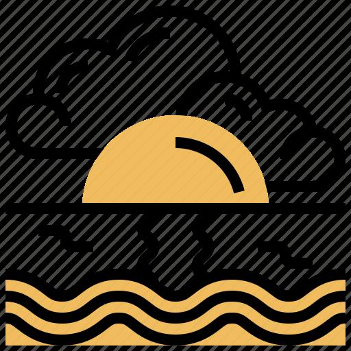 breeze, calm, ocean, scenery, sunset icon