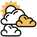 cloudy, daytime, partly, sunlight, weather icon