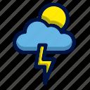 cloud, flash, moon, sun, weather