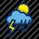 cloud, flash, moon, rain, sun