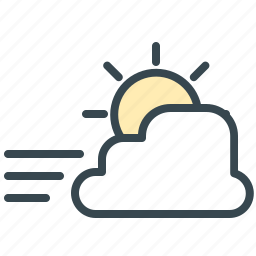 cloud, cloudy, forecast, sun, weather, windy icon