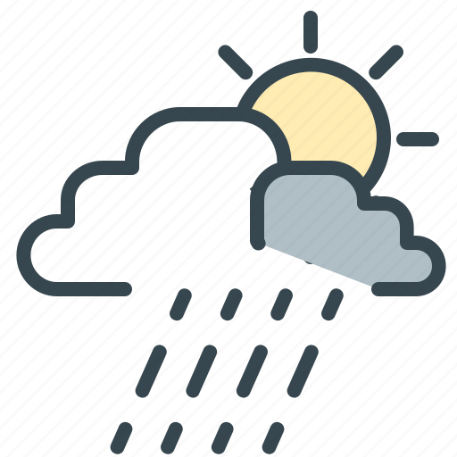 forecast, part, rain, storm, sun, weather icon