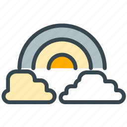 cloud, clouds, forecast, nature, rainbow, weather icon