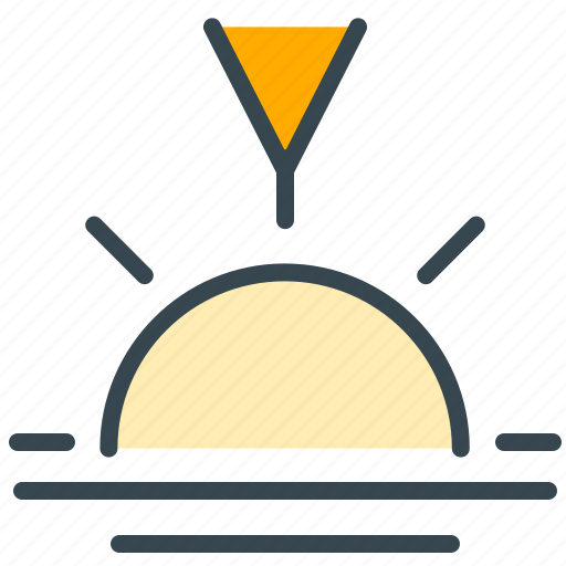 arrow, forecast, pointer, sun, sunset, weather icon