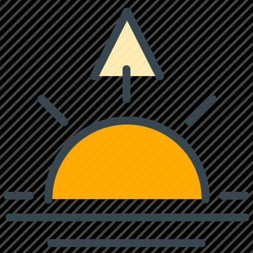arrow, forecast, sun, sunrise, weather icon