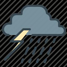 forecast, lightining, rain, storm, thunder, weather icon