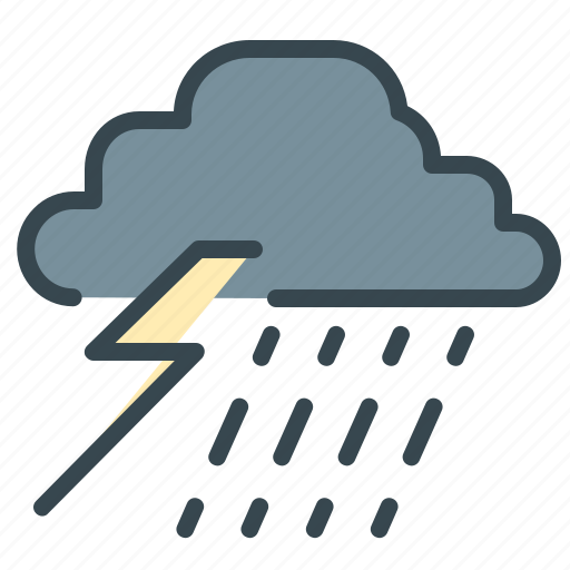 forecast, lightining, rain, storm, thunder, weather icon