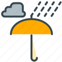 cloud, forecast, rain, raining, umbrella, weather icon
